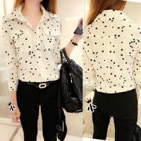 AB Artboor 2014 New fashion women's spring female turn-down collar slim long-sleeve five-pointed star print cotton cloth shirt