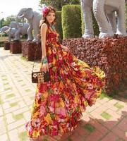 New condole backless mop the floor on holiday beach dress Bohemian chiffon dress big yards   fashion women skrit hot sale