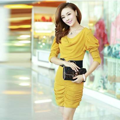 The new fall and winter clothes dress pleated chiffon thin wrinkled career cultivating long-sleeved dress sexy women(China (Mainland))