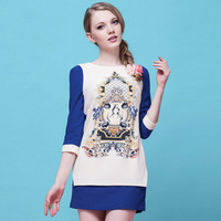 2014 New   European and American printing Slim A word Sleeve Neck Dress Free Shipping