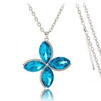 Winter clothing accessories quality four-leaf flower necklace huge crystal long design necklace - nl323