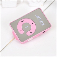 1pc Promotion  Mirror Clip MP3 Rechargeable music mp3 player W/TF card Slot Free Shipping