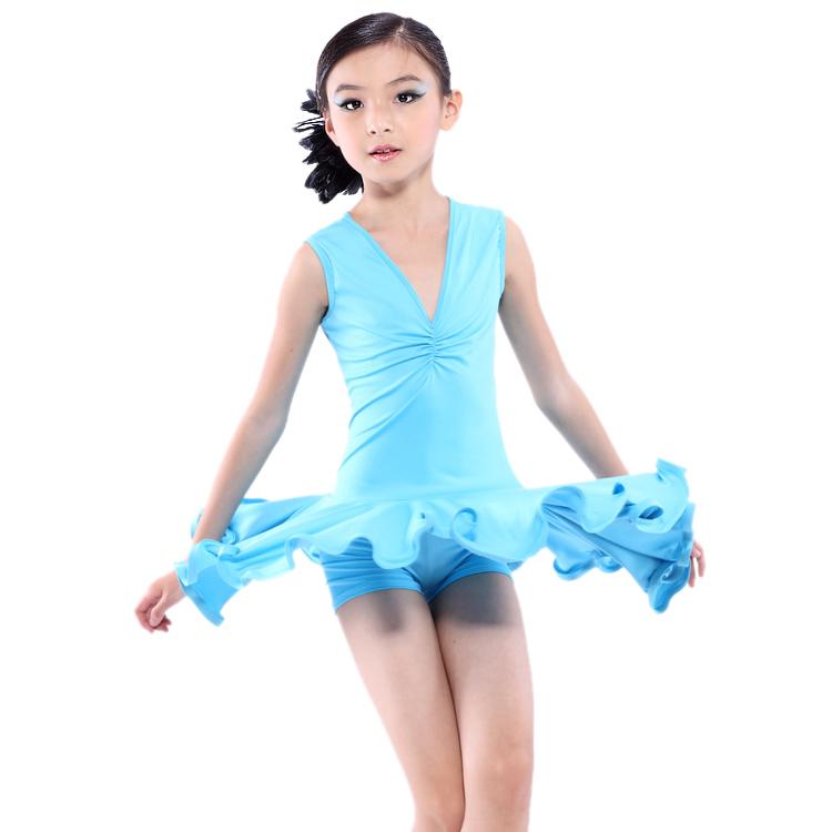 Best Selling Girl Dresses Latin Dance Leotard Dress Kids Latin Performance Dress Practicing Latin Dress Child Stage Wear 1014B(China (Mainland))
