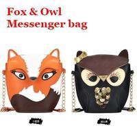 2014 new fashion cute owl / fox pattern patchwork design women's messenger bags,novelty shoulder bag, gift for children 14-10