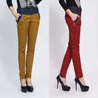 Vintage color block harem pants candy color personality casual women's trousers