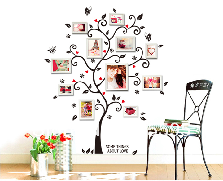 Free Shipping:100*120Cm/40*48in 3D DIY Removable Photo Tree Pvc Wall Decals/Adhesive Wall Stickers Mural Art Home Decor