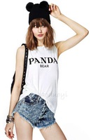 2014 HAODUOYI women PANDA BEAR printed sleeveless round neck slim white tank for wholesale and free shipping