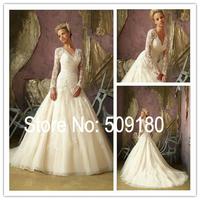 Elegent champagne V neck A line appliqued customized floor length wedding gown design PX146 long sleeve lace wedding dresses