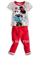 Free shipping 2014 Summer New 5sets/lot lovely printed minnie children girls t-shirts+pants 2pcs clothes set suit in stock