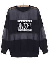 Free Shipping 2014 Hot Top Fashion Women Casual New Style Black Contrast Sheer Mesh Yoke Letters Print Sweatshirt