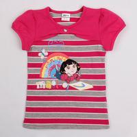 SALE! NEW!!! Free shipping 5pcs/lot 18m~6y girl printed dora summer cotton short sleeve stripe t shirt