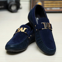 Free Shipping US Size 6 7 8 9 10 Faux  suede Leather Casual  moc toe SLIP-ON casual buckle Loafer driving mens car shoes