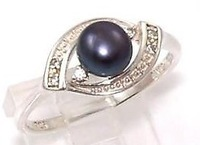 Sterling Silver CZ Natural Black Pearl Ring Size 9