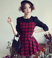 91 fashion plaid color block decoration princess sleeve pleated one-piece dress