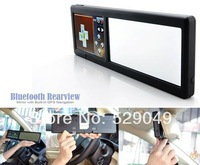 free shipping rear view mirror gps navigator 4.3 inch 4GB the latest maps+CPU800MHZ +Bluetooth AV-IN +Wired Rearview Camera