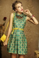 2014 New Women's Retro Exotic Style Vogue Flower Printed Turn-down Collar Zipper Pleated Lap Sleeveless Tank Cotton Dress Green