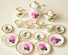 Frete grátis! Monte de 15 rosebud casa de bonecas em miniatura de porcelana xícara de chá de café conjunto dc96()