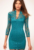 C2014 New Women's Charming European Style Pure Color Elegant Flowers Printed V Collar High Quality Lace Dress Green 8 colors