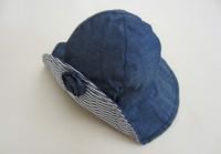 2014 New Children Caps Blue Color Stripe Flower  Summer Sunbonnet  Embroider Bucket Hats Baby Hat  Beach Cap size 48,50cm,52cm