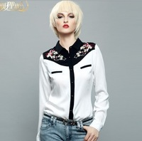 High Quality  Europe Embroidery Shirt,Women Fashionable White Embroidery Flower Blouse/Shirt.S-L Free Shippig