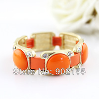 2014 New Fashion Design Charming Gold Color Alloy Jewelry Orange Imitation Gemstone Bracelet And Bangles For Women