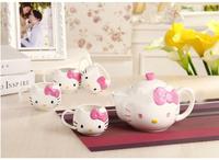 Free Shipping, Hot Selling, 5pieces/lot High Quality Hello Kitty Tea Pot Set, Tea Kettle , Novelty Tea Set,Porcelain Tea Set