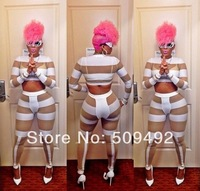 New Fashion 2014 Novelty White Jumpsuit Women Long Sleeve Overalls Club wear Sexy Bodysuit Jumpsuits GAGA Net yarn pants