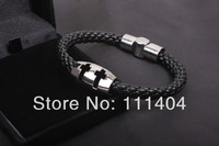 2014 NEW style Serpentine knit two-sided magnetic buckle bracelet double cross titanium steel  double cross