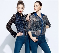 High Quality  Europe Style Chiffion Lace  Leoard Shirt,Women Fashionable Back Lace Flower Blouse/Shirt.S-L Free Shippig