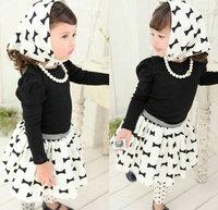 New arrival retail 1set 2014 summer casual baby girl clothing set high quanlity shirt +print dress princess kids clothes sets
