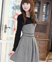 Lattice woolen d black-and-white patchwork one-piece dress