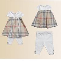 New's brand chirdren ,gril's O-neck short sleeve shirt,fashion children'skhaki  color cotton deress