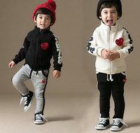 New arrival retail 1set 2014 fashion sports baby boy clothing set high quanlity children outerwear + pants kids clothes sets