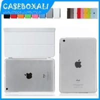 New 2014 For iPad mini Case PU Leather Smart Magnetic Cover Crystal/Scrub Hard Back Cover For iPad Mini 1 2 ,Free shipping