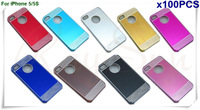 Free Shipping by FedEx/DHL Deluxe Laser Diamond Brushed Aluminum Hard Case  Skin Cover  For iPhone 5 5S -100pcs