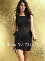 2014 New Fashion Women's Summer Sexy Casual Brief Vintage Sleeveless Lotus Leaf Waist Package Hip Backless Dress ZD-0042