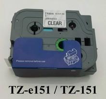 1″ x23′ 24mm laminated tz tape tz151 black on white tz-151 tze 151 label tape for p touch