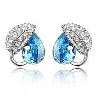 Free Wedding Ring Lady Earrings Fashion Crystal Shiny Sparkling Rhinestone,Stainless Steel Stud Pin, Female Ear Rings Jewelry