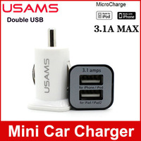 1pcs 5V 3.1A USAMS mini dual port USB car charger Adaptor for New iPad 3 2 iPhone 4S 4G iPod for Galaxy S3 S4