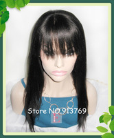 Free Shipping Stock 10-24 inch Yaki Indian Remy Human Hair Full Lace Wigs With Baby Hair