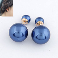 Fashion brief gentlewomen dual large pearl all-match elegant stud earring