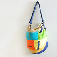 Women's Contrast Color Fashion Patchwork Canvas Bag For Woman Cross Body Messenger Shoulder Multicolour Bag S363