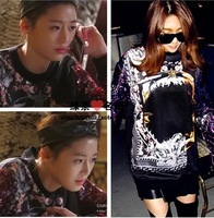 2014 patchwork print sleeves paillette long-sleeve pullover sweatshirt  14030504