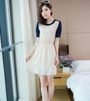Contrast color shoulder cuff button dress Apricot Free shipping