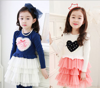 2014 spring models of child multilayer gauze skirt lace flower girls dress children princess dress wholesale