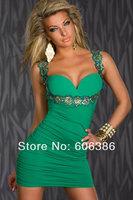 Elegant Women's Evening Dress,Appliques Spaghetti Strap Sleeveless Ladies' Sheath Mini Party Dress,Condole Belt Bandage Dress