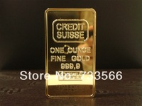 50 pcs/lot New and Shinny Credit Suisse Gold Plated Bars With Serials Number Switzerland Fake Gold Bar