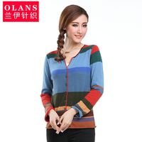 Olans autumn and winter regular style sweater female cardigan long-sleeve air conditioning shirt stripe outerwear sweater
