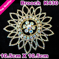 Sew On 2014 New Design Crystal AB Color Rhinestone Brooch Model No K430  Golden Plated Metal Flatback For Fashion DIY Shoes Hat