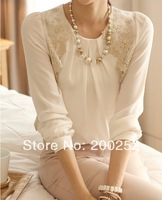 Women's Fashion Shirts High quality White Chiffon With Lace O-Neck Collar Women Top Blouses Clothing S M L XL 2XL Free Shipping